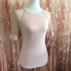 Express Pink Mesh Inset Fitted Stretch Elbow Length T Shirt